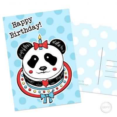 Happy Birthday verjaardagskaart met Panda taart