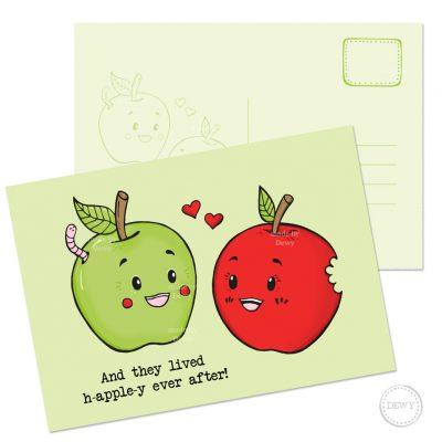 Funny fruit A6 postcard apples