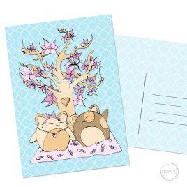 Bloesemboom-katten-picknick-Sakura-lente-Japan-postkaart-Valentijn by .