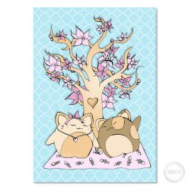 Blossom-tree-spring-lucky-cats-postcard-web by Dewy Venerius.
