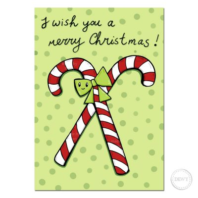 Candy Canes Merry Christmas postcard