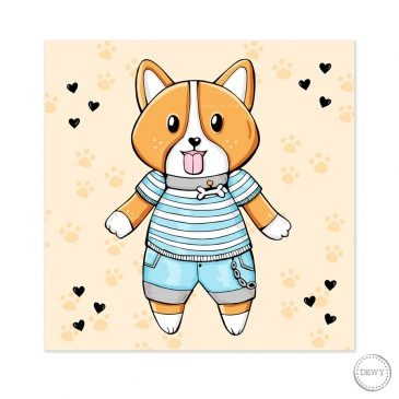 Cute-corgi-postcard-DewyCreations by Dewy Venerius.