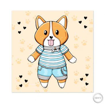 Cute-corgi-postcard-DewyCreations by Dewy Venerius.