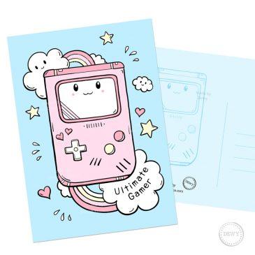 Cute-ultimate-gamer-girl-pink-gameboy-wenskaart by Dewy Venerius.
