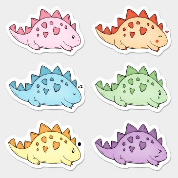 Dino-sticker-set by Dewy Venerius.