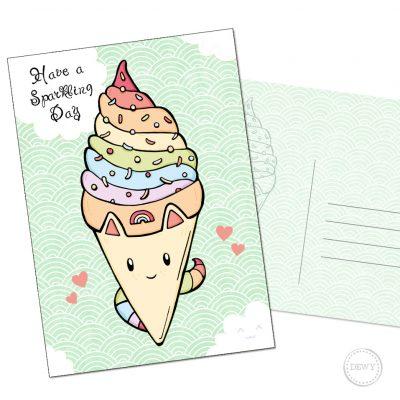 Unicorn ijsje A6 verjaardagskaart