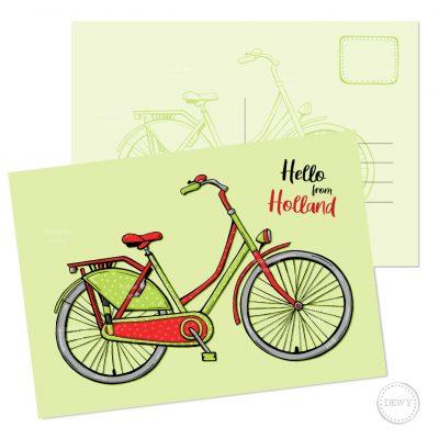 Hello Holland A6 postkaart - fiets