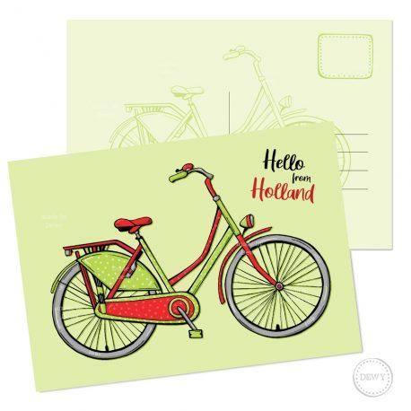 Fiets Bike Postkaart Holland ansichtkaart wenskaart Dewy Venerius Nederland