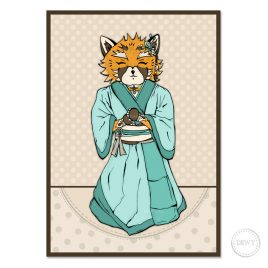 Fox-Red-Panda-kimono-illustrationB by Dewy Venerius.