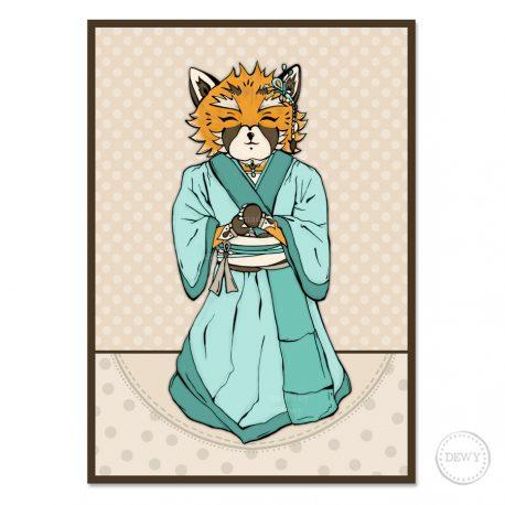 Fox-Red-Panda-kimono-illustrationB by Dewy Venerius.