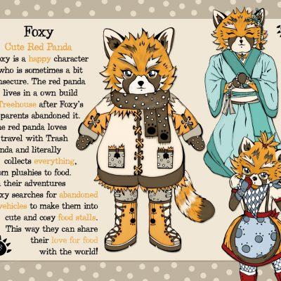 Foxy - red panda character design