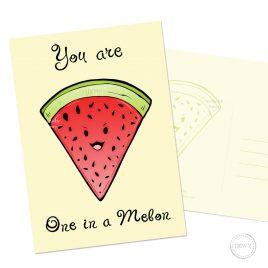 Funny-fruit-watermelon-postcard-kawaii