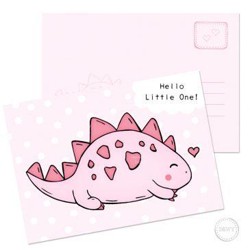 Pink baby postcard little dino