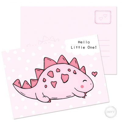 Pink baby postcard little dino