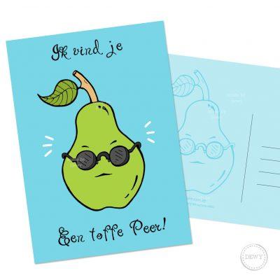 Grappige fruit A6 postkaart met toffe peer