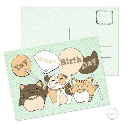 Happy Birthday verjaardagkaart met katten