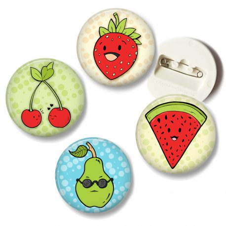 Happy-Kawaii-Cute-Fruit-button-pin-set by .