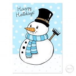 Winter Happy Holidays snowman christmas card DewyCreations