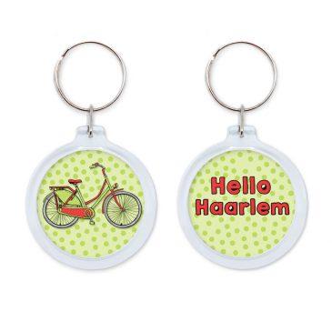Hello Haarlem rode fiets sleutelhanger