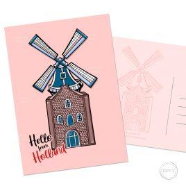 Molen wenskaart windmill Nederland Holland Dutch Design illustratie Dewy Venerius