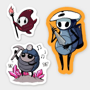 Hollow-Knight-sticker-set-Quirrel-Myla-Cornifer by .