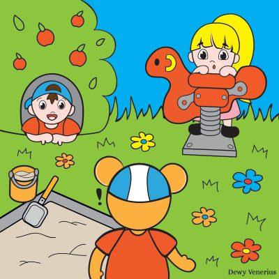 Illustratie Beertje in de speeltuin