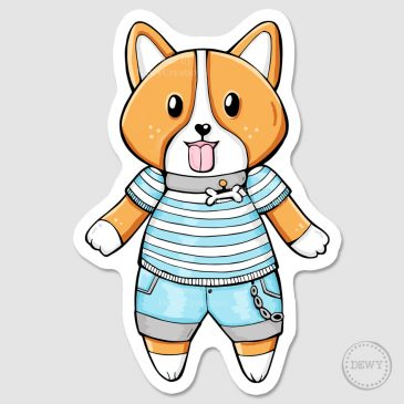 Kawaii-Corgi-Sticker-DewyCreations by Dewy Venerius.