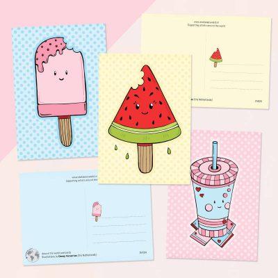 Kawaii kaartenset zomer