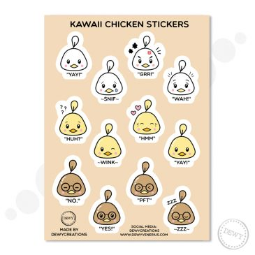 Kawaii-chicken-sticker-sheet by .