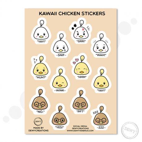 Kawaii-chicken-sticker-sheet by .
