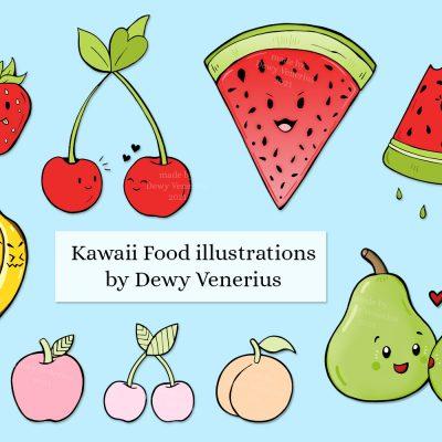 Kawaii food character illustrations