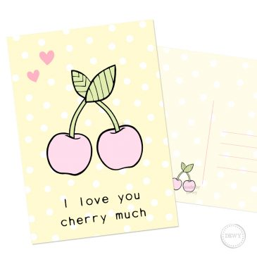 Kawaii-polkadot-cherry-fruit-postcard