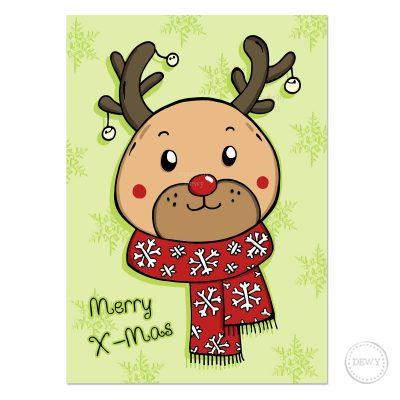 Kawaii Reindeer Christmas card