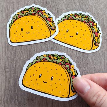 Kawaii-taco-fastfood-stickers-Dewy-Venerius by .