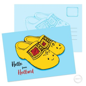 Klompjes Postkaart Holland ansichtkaart wenskaart Dewy Venerius Nederland