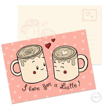 I love you a Latte A6 postkaart