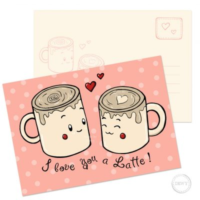 I love you a Latte A6 postkaart