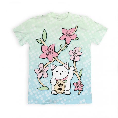 Lucky-Cat-t-shirt-kawaii-DewyCreations by Max Fatfullin.