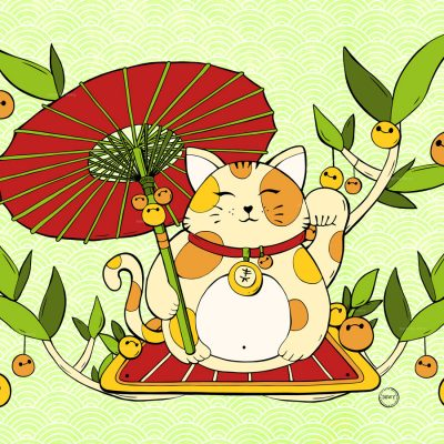 Lucky Cat Parasol Illustration