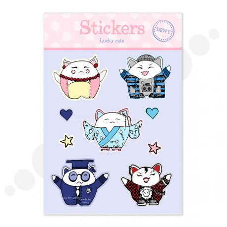 Lucky-cat-stickers by Dewy Venerius.