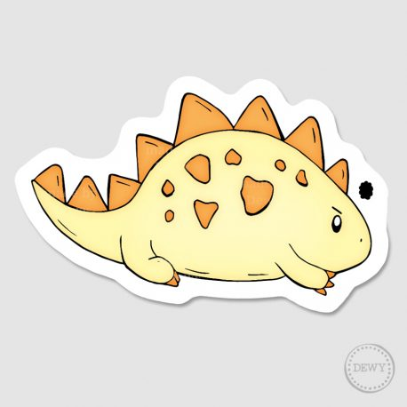 Mad-cute-dino-sticker-yellow by Dewy Venerius.