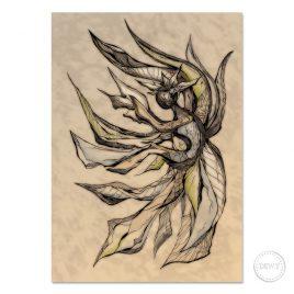 Mermaid-illustration-postcard by Dewy Venerius.