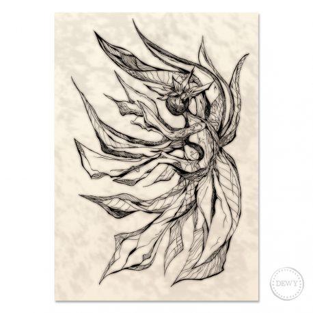 Mermaid-illustration-print by Dewy Venerius.