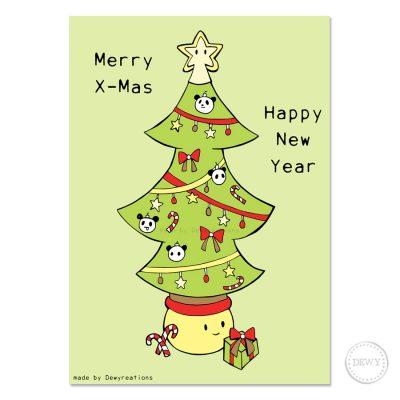 Kawaii Christmas postcard