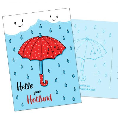 Hello Holland Paraplu A6 postkaart met regen