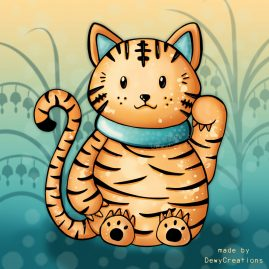 Oranje-kat-illustratie-DewyCreations by .