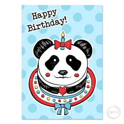 Panda cake postcard