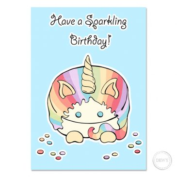 Pastel-unicorn-postcard by Dewy Venerius.