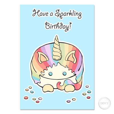 Pastel unicorn postcard