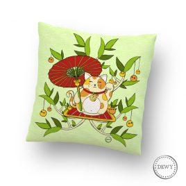Pillow-case-lucky-cat-parasol by Dewy Venerius.